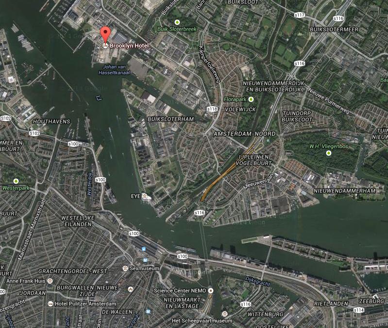 Hotell Brooklyn i forhold til sentrum av byen